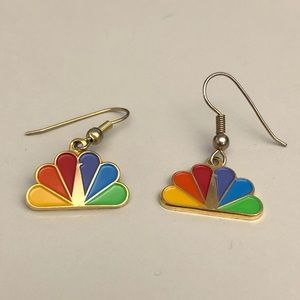 Vintage NBC peacock logo earrings